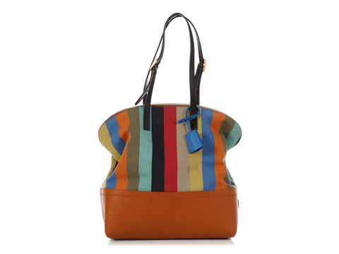 Fendi Multicolor Pequin Striped 2Bag