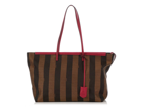 Fendi Brown Pequin Striped Tote
