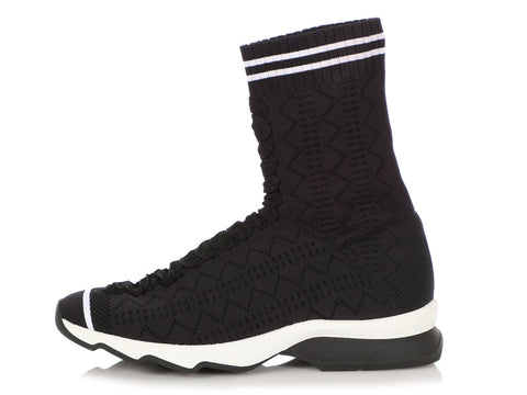 Fendi Black and White Sock Sneakers