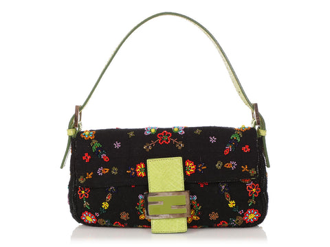 Fendi Floral Beaded Canvas and Snakeskin Baguette