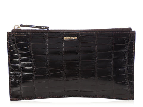 Fendi Brown Crocodile Pouch