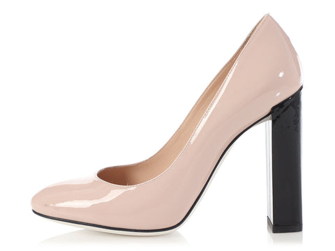 Fendi Pink and Black Color Block Patent Pumps