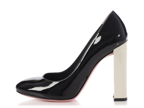 Fendi Black and White Color Block Pumps