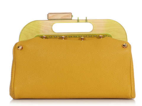 Fendi Yellow Wood-Frame Leather Clutch