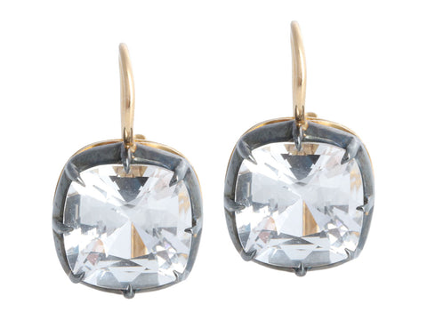 Fred Leighton 18K Yellow Gold Cushion-Cut White Topaz Collet Drop Pierced Earrings