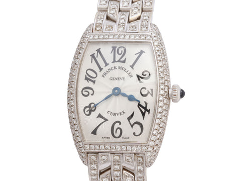 Franck Muller 18K White Gold Diamond Cintrée Curvex Watch