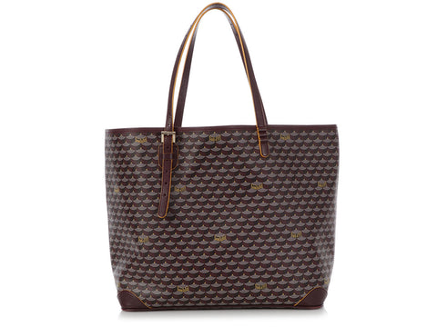 Fauré Le Page Burgundy Leather and Canvas Daily Battle Tote 37
