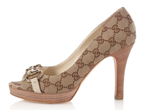 Gucci Tan Monogram Peep Toe Pumps