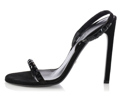 Gucci Black Crystal Mallory Slingbacks