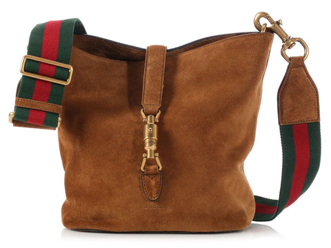 Gucci Brown Suede Soft Jackie Bucket Bag