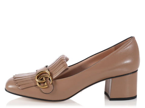Gucci Taupe Marmont Pumps