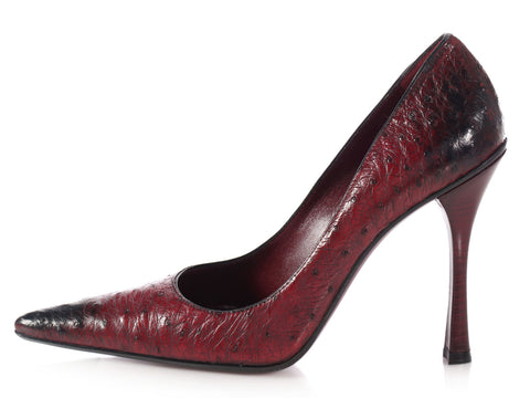 Gucci Dark Red Ostrich Pumps