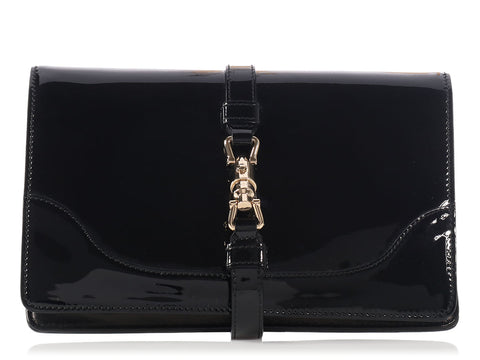 Gucci Black Patent Wallet on a Chain WOC