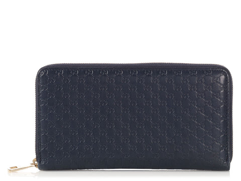 Gucci Large Navy Microguccissima Zip Around Wallet
