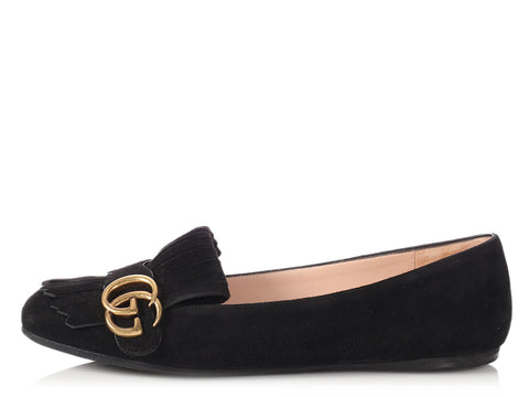Gucci Black Marmont Fringe Suede Flat Loafers