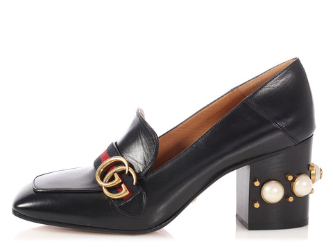 Gucci Black Pearl Mid Heel Loafer Pumps