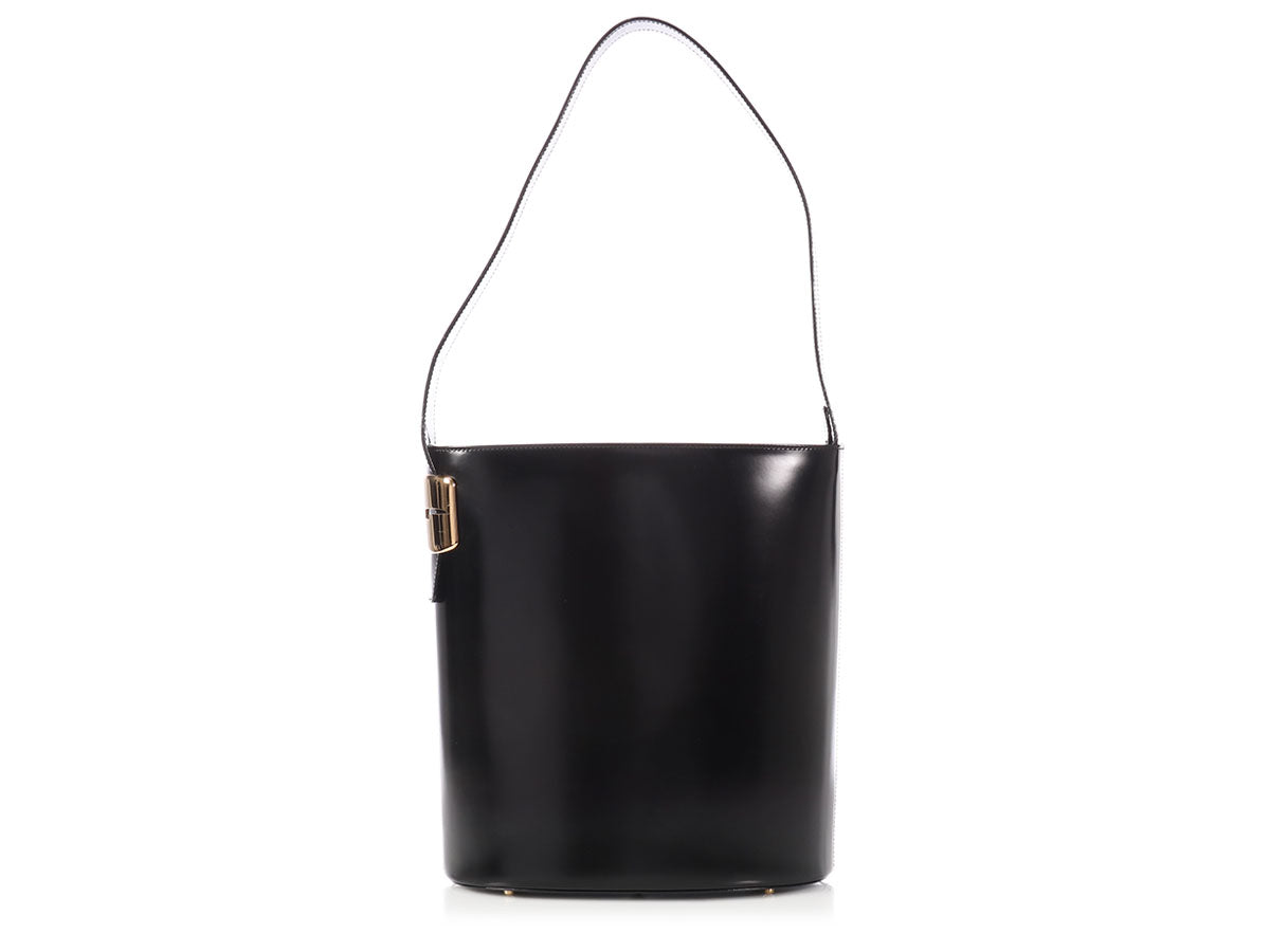 Gucci Black Leather Bucket Tote