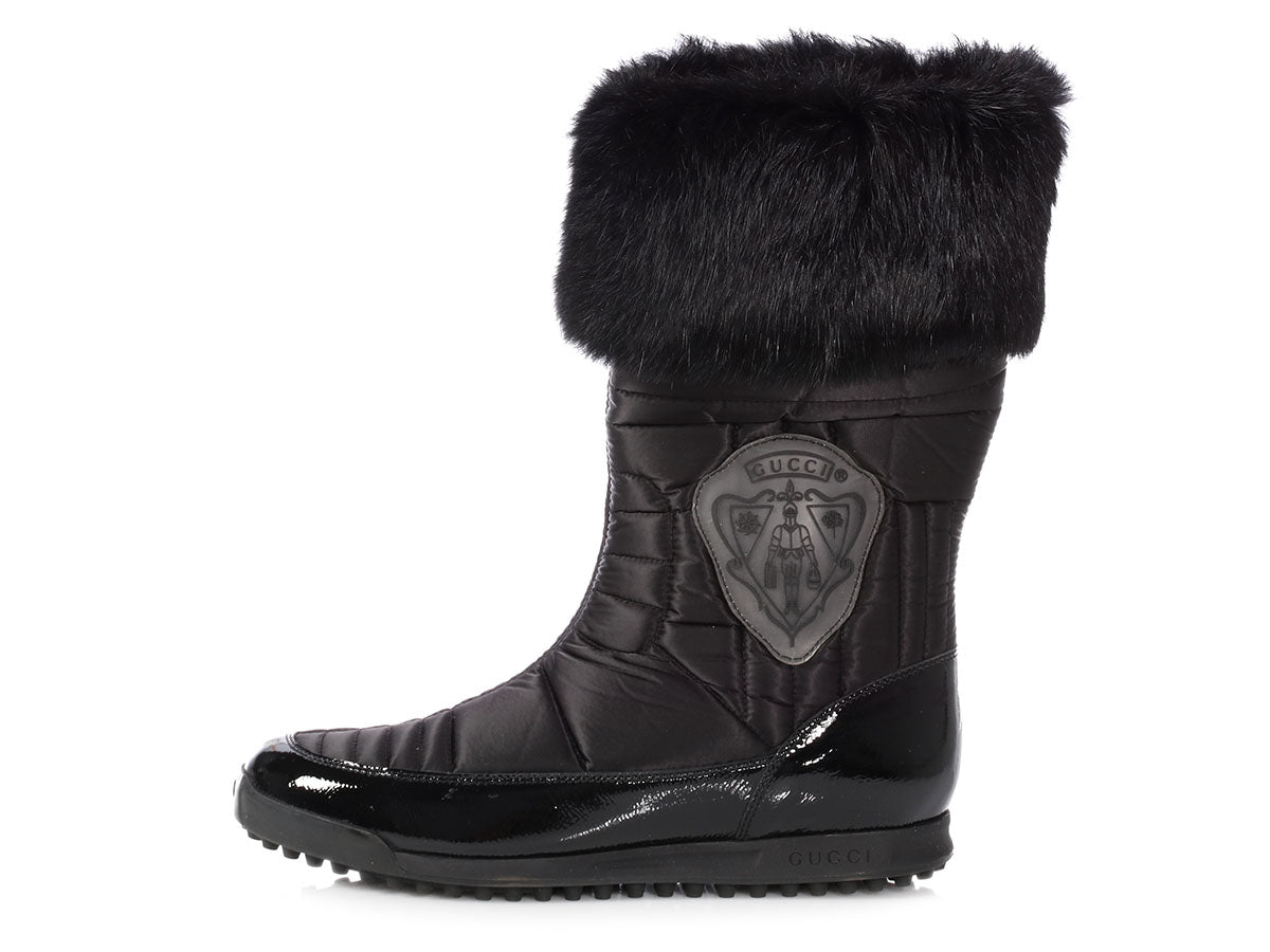 Gucci Black Fur-Trimmed Hysteria Crest Boots