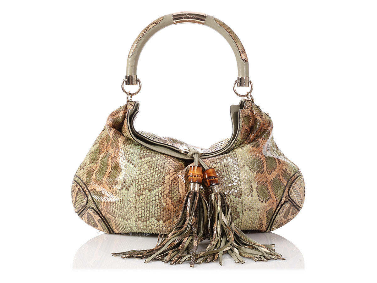 d6ca41f4c03 Gucci Large Green Python Indy Hobo
