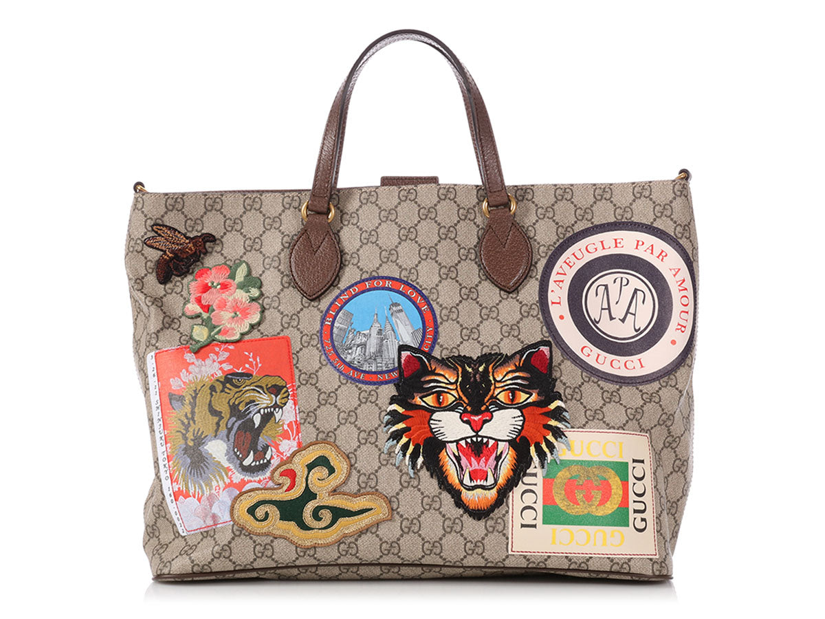6cb70f913306 Gucci Courier GG Supreme Patch Tote