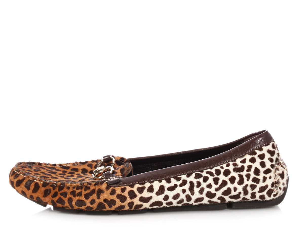 Gucci Ponyhair Leopard Print Driving Moccasins