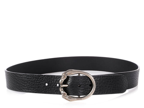 Gucci Black Horse Head Belt
