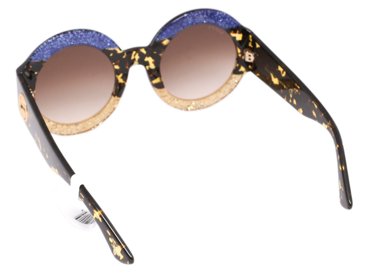 e5e93a95447 Gucci Gold and Blue Glitter Round Sunglasses