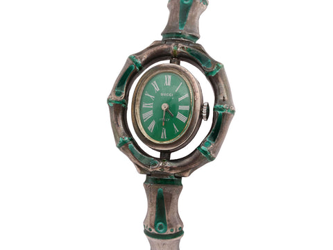 Gucci Vintage Sterling Silver Green Enamel Swivel Bracelet Watch