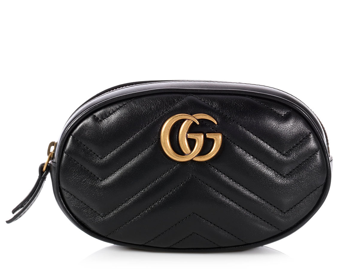 13e0197e3a11ee Gucci Black GG Marmont Matelassé Leather Belt Bag