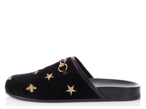 Gucci Black New River Embroidered Velvet Mules