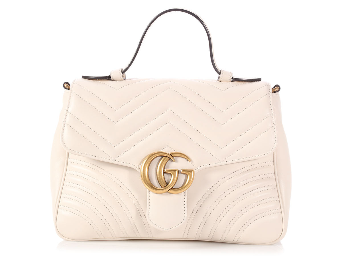 Gucci Small White GG Marmont Top Handle Bag