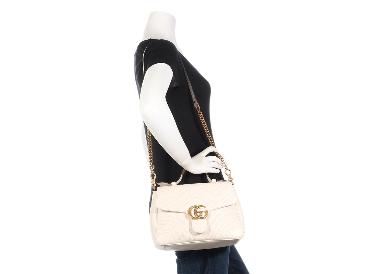 8acda30c18a852 Gucci Small White GG Marmont Top Handle Bag