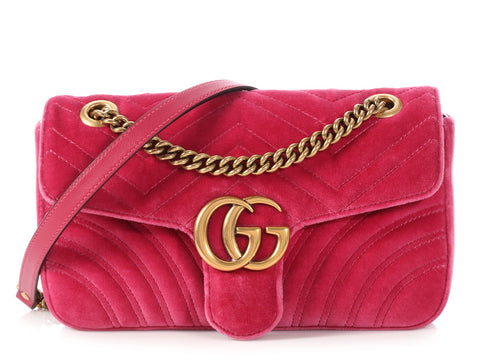 Gucci Small Pink Velvet Matelassé Marmont Shoulder Bag