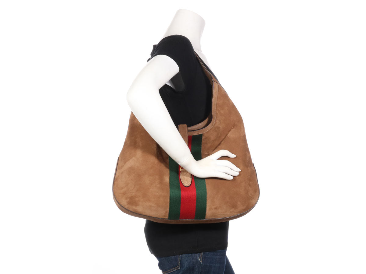 Gucci Large Brown Suede Web Soft Jackie Hobo 02d3e14562c1a