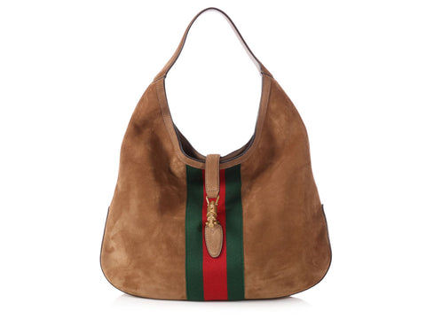 Gucci Large Brown Suede Web Soft Jackie Hobo b8a1b564d657a