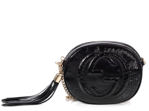 Gucci Black Patent Soho Mini Chain Bag