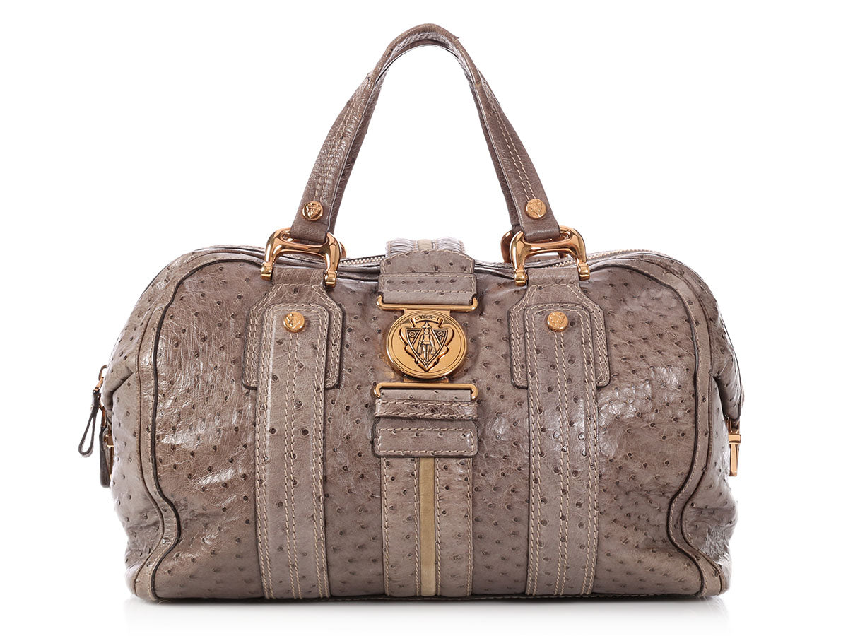 Gucci Large Gray Ostrich Aviatrix