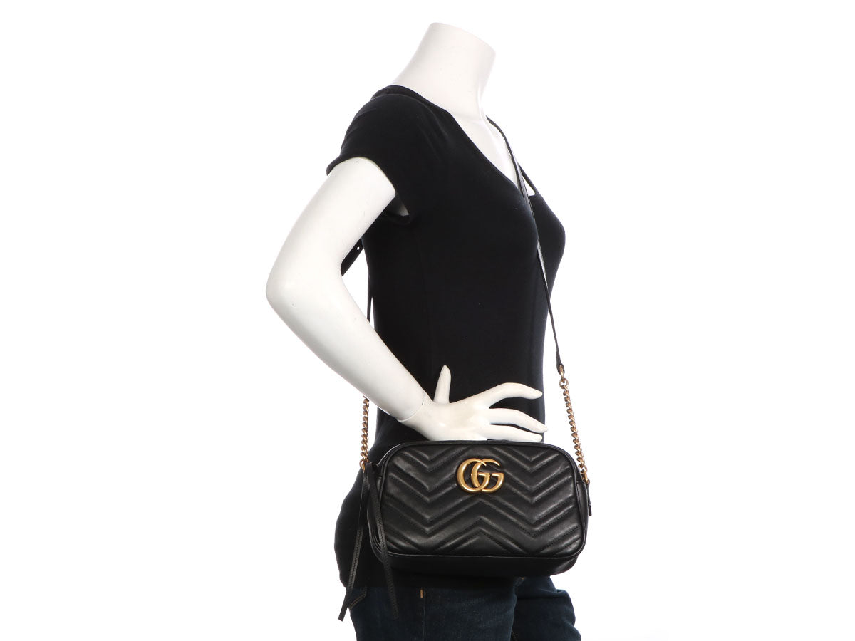 d71c35bf5cf4 Gucci Small Black GG Marmont Matelassé Shoulder Bag