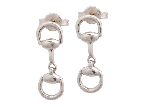 Gucci 18K White Gold Horsebit Pierced Drop Earrings