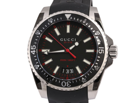 Gucci Stainless Black Rubber Dive Watch 40mm