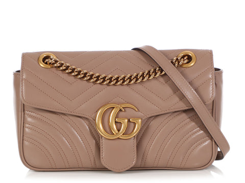 Gucci Small Nude Matelassé GG Marmont Shoulder Bag