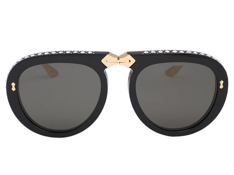 Gucci Black Collapsible Rhinestone Aviators