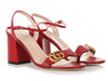 Gucci Red Leather Marmont GG Block-Heel Sandals