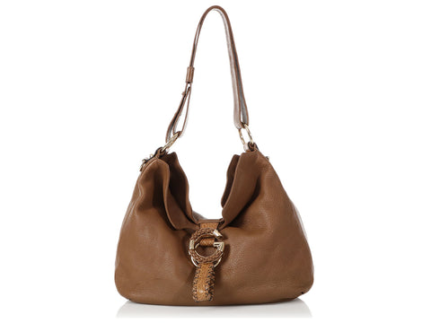 Gucci Medium Brown Leather G Wave Shoulder Bag