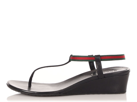 Gucci Black Areia Wedge Thong Sandals