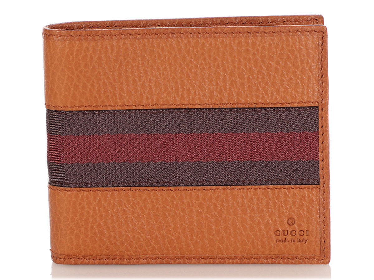 Gucci Brown Web Stripe Bifold Wallet