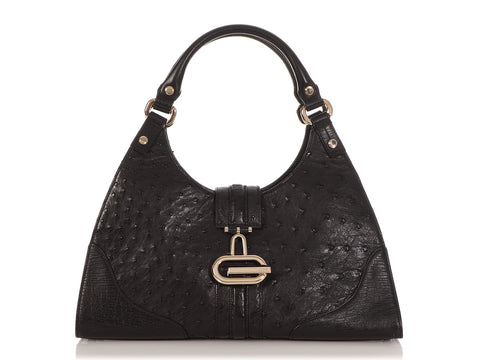 Gucci Black Ostrich Junco Bag