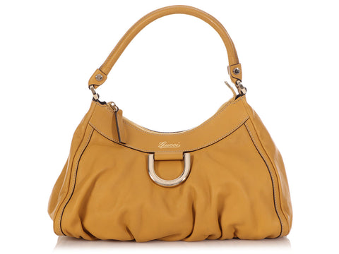 Gucci Small Beige Leather D-Ring Hobo