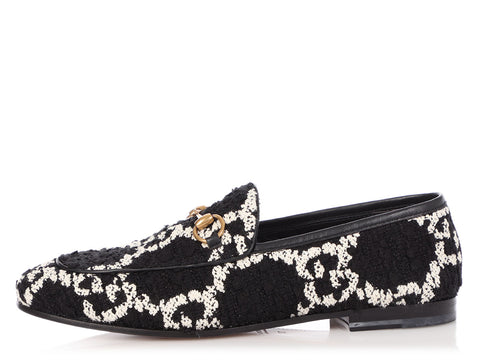 Gucci Black and White Jordaan Loafers