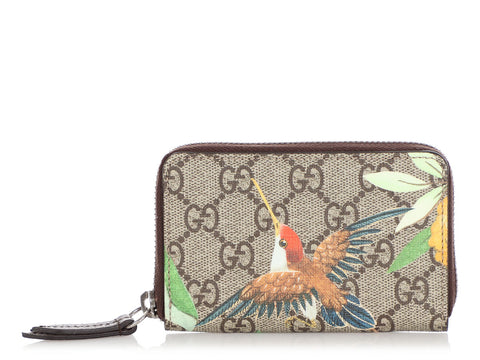 Gucci Tian GG Supreme Zip Around Card Case